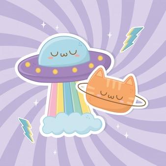 Lustige fantasiekatze mit ufo kawaii charakteren