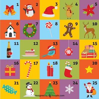 Lustige farbige adventskalender