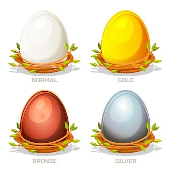 Lustige farbige eier der karikatur im vogelnest von zweigen