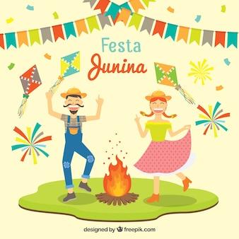 Lustige festa junina hintergrund mit tanzpaar