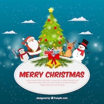 Lustige flache weihnachten hintergrund