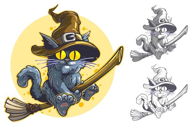 Lustige fliegende katze der karikatur mit großen gelben augen auf besen im hexenhut. halloween-vektorpostkarte mit mond auf hintergrund.