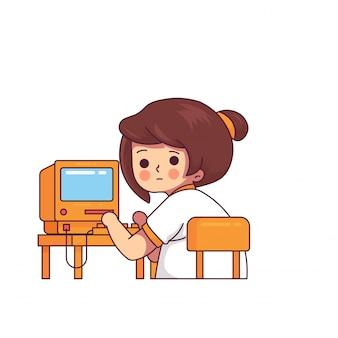 Lustige frau, die weinlese-computer bearbeitet