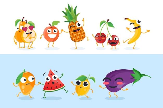 Lustige fruchtcharaktere - satz vektor lokalisierte illustrationen auf weißem und blauem hintergrund. süße birne, mango, kirsche, banane, ananas, zitrone, aubergine. hochwertige sammlung von cartoon-emoticons