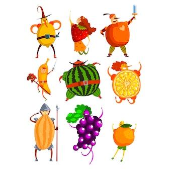 Lustige früchte cartoon charaktere gesetzt