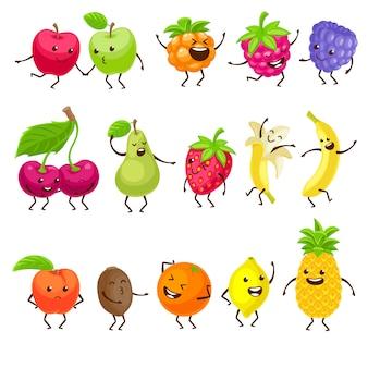 Lustige früchte mit gesetzten gesichtern.