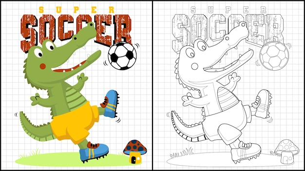 Lustige fußballspielerkarikatur