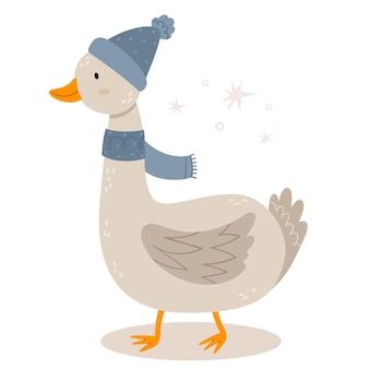 Lustige gans wintermütze neujahr charakter im skandinavischen stil