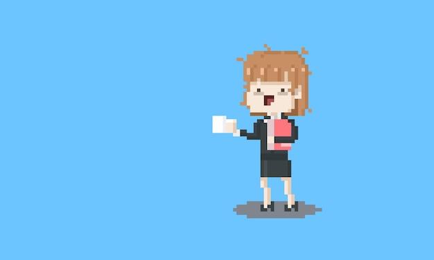 Lustige gehaltsfrauenfigur der pixelkunstkarikatur.