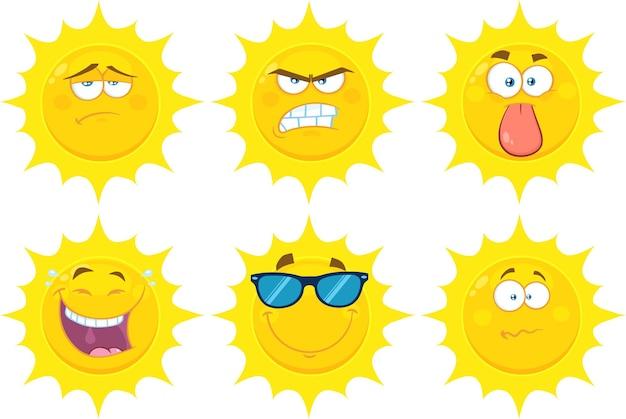 Lustige gelbe sonne-karikatur-emoji-gesichts-reihen-zeichensatz-flache sammlung lokalisiert auf weiß