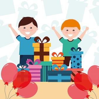 Lustige geschenke und ballone dekoration der kleinen jungen lustige