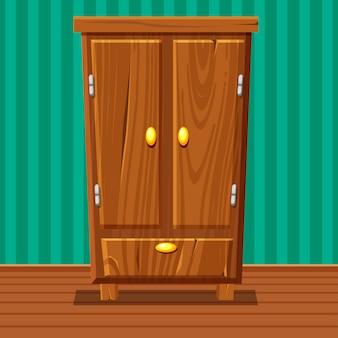 Lustige geschlossene garderobe der karikatur, wohnzimmerholzmöbel