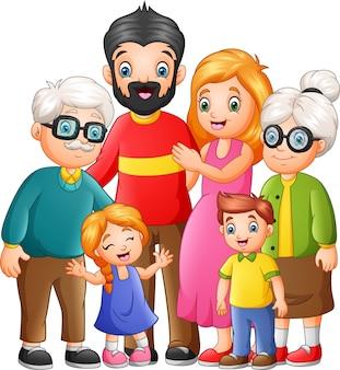 Lustige glückliche familienkarikatur der gruppe