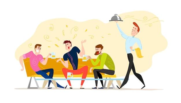 . . lustige glückliche männer am kaffeetisch, sofa. guy company sitzt im restaurant. abendgesellschaft. kellner, fröhliche jungs charaktere.