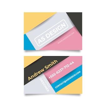 Lustige grafikdesigner-visitenkarte in den farben