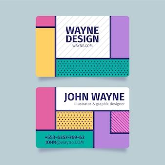 Lustige grafikdesigner-visitenkarte mit punkten und linien