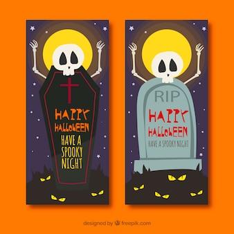 Lustige halloween-banner mit skeletten und gräbern