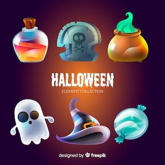 Lustige halloween-elementsammlung
