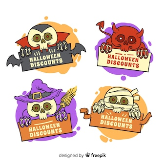 Lustige halloween-geschöpfe für verkaufsausweissammlung