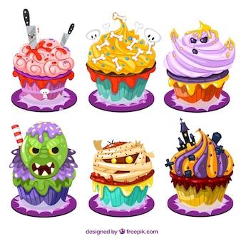 Lustige halloween-kleine kuchen im cartoon-stil