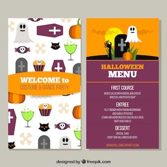 Lustige halloween-menut mit flachem design