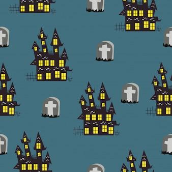 Lustige halloween-muster mit elementen