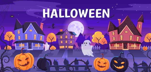Lustige halloween-nachtstraße mit niedlicher geisterillustration