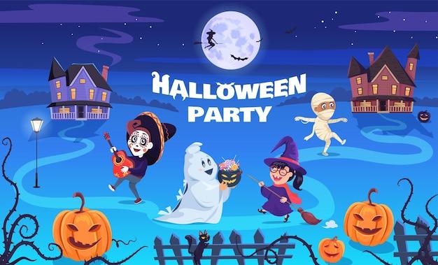 Lustige halloween-partykinderkarikaturillustrationskarte
