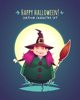 Lustige halloweenhexe mit besen. zeichenillustration