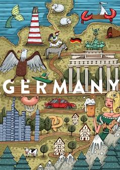 Lustige hand gezeichnete cartoon deutschland karte mit den beliebtesten sehenswürdigkeiten. vektorillustration