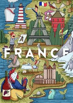 Lustige hand gezeichnete cartoon frankreich karte mit den beliebtesten orten von interesse. vektorillustration