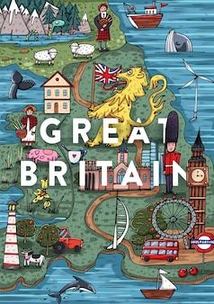 Lustige hand gezeichnete cartoon-großbritannien-karte mit den beliebtesten sehenswürdigkeiten. vektorillustration