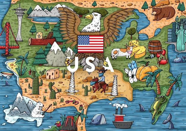 Lustige hand gezeichnete cartoon usa karte mit den beliebtesten sehenswürdigkeiten. vektorillustration