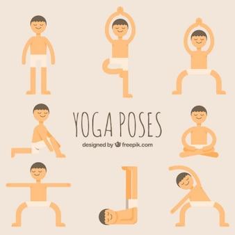 Lustige hand gezeichnete yoga-posen gesetzt