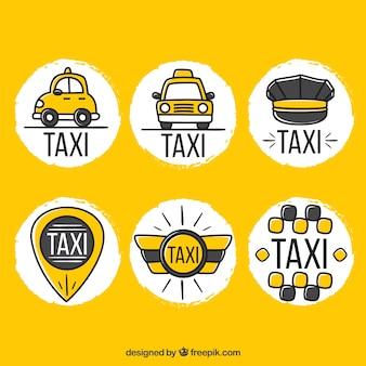 Lustige handgezeichnete logos für taxiunternehmen