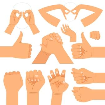 Lustige handgläser formen, händedruck und daumen hoch, faust- und katzenklauenhandgesten