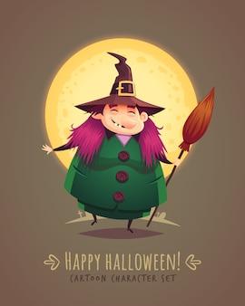 Lustige hexe mit besen. halloween-zeichentrickfigurenkonzept. illustration.