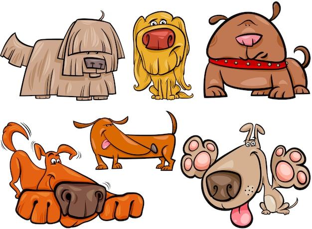 Lustige hunde stellten karikaturillustration ein