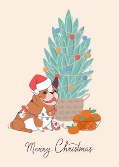 Lustige hundebulldogge auf weihnachtskarte