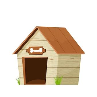Lustige hundehütte aus holz im cartoon-stil isoliert auf weißem hintergrund