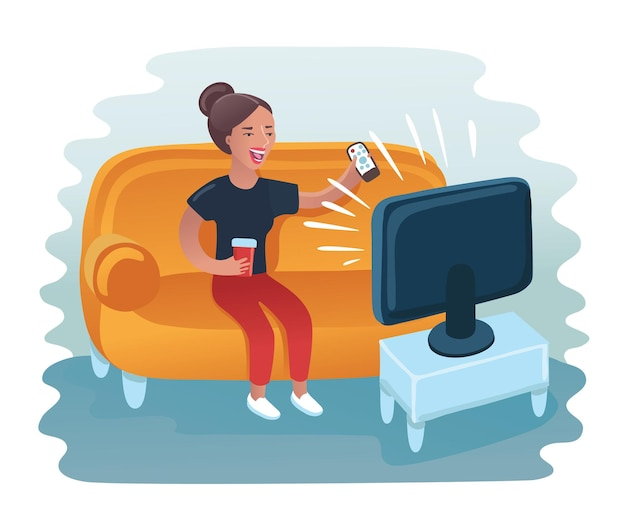 Lustige illustration der karikatur der frau, die auf sofa sitzt und fernsieht