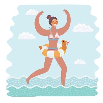 Lustige illustration der karikatur der schlanken und attraktiven jungen frau im gelben badeanzug, der im meerwasser läuft, um zu schwimmen. gummi ring. bunter isolierter charakter auf weißem hintergrund.
