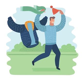 Lustige illustration der karikatur des glücklichen mannes nehmen warme kleidung