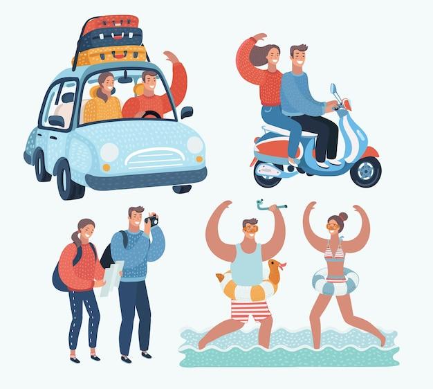 Lustige illustration der karikatur des jungen touristenpaares. familie im urlaub. zusammen szene. mit dem auto, mit dem roller fahren, fotos von sehenswürdigkeiten machen und im resort im meer planschen.