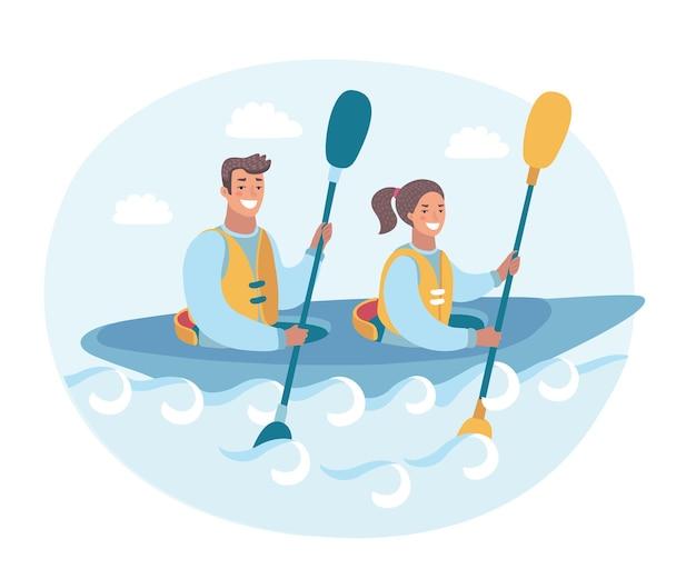Lustige illustration der karikatur des paares in einem ruderruder eines kanus entlang des flusses