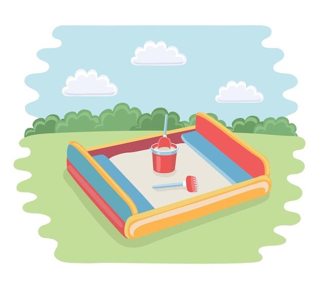 Lustige illustration der karikatur des sandkastens mit kinderschaufel
