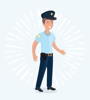 Lustige illustration der karikatur eines polizisten mit einer vollständigen uniform