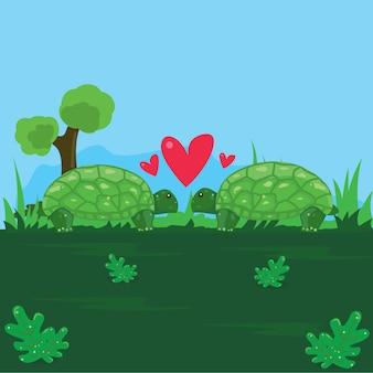Lustige illustration eines paares schildkrötenliebhaber im garten mit einem hintergrund des blauen himmels