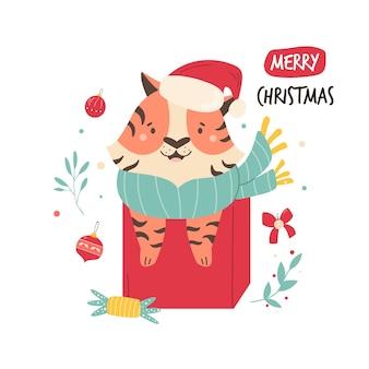 Lustige illustration mit einem glücklichen tiger, der in einer geschenkbox sitzt. vektorbild in einem modernen flachen stil