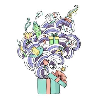 Lustige illustration mit geschenkbox. box mit träumen